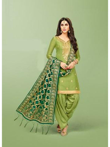 Punjabi Designer Light Green Color Patiala Suit