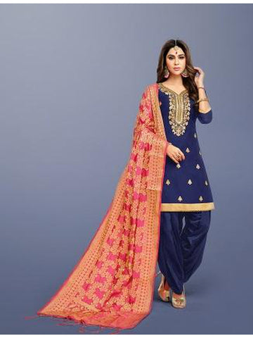Punjabi Designer Navy Blue Color Patiala Suit
