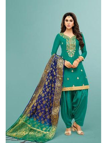 Punjabi Designer Teal Green Color Patiala Suit
