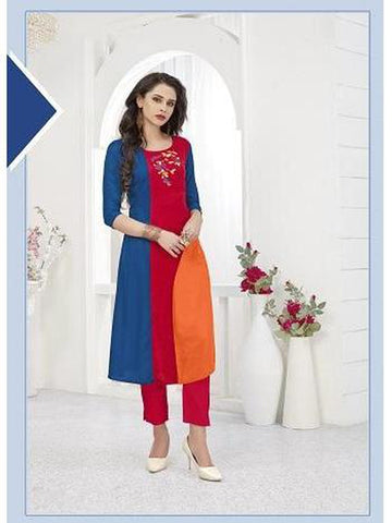 Designer Royal Blue and Red Color Thread Work Rayon Long Straight Cut Kurti