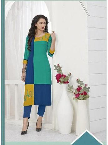 Designer Sea Green and Blue Color Thread Work Rayon Long Straight Cut Kurti