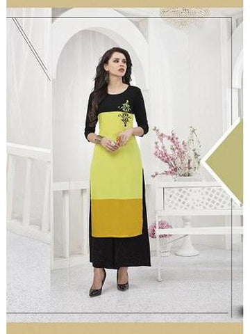 Designer Yellow and Black Color Thread Work Rayon Long Straight Cut Kurti
