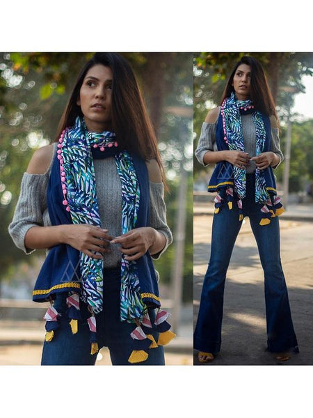 Beautiful Blue Color Scarf Fabricated On Khadi Cotton