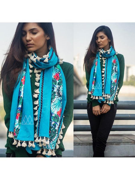 Beautiful Turquoise Color Scarf Fabricated On Khadi Cotton