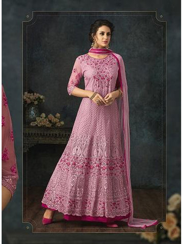Designer Pink Color Embroidered Floor Length Anarkali Suit