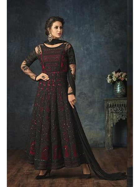 Designer Black & Red Color Embroidered Floor Length Anarkali Suit