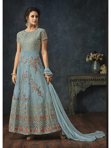 Designer Light Blue Color Embroidered Floor Length Anarkali Suit