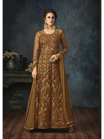 Designer Brown Color Embroidered Floor Length Anarkali Suit
