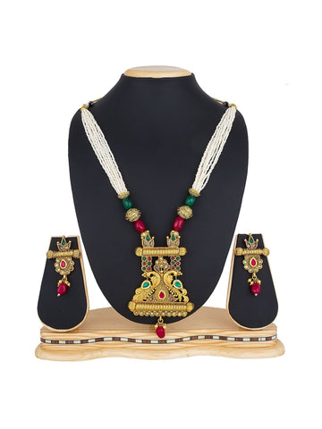 Designer Golden Color Festive Wear Necklace Set