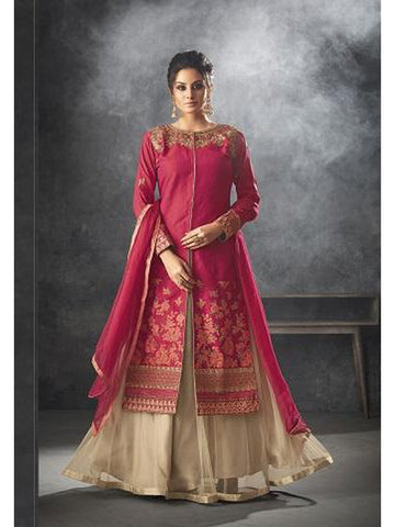 Designer Dark Pink Color Art Silk Floor Length Anarkali Suit