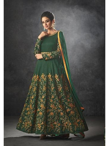 Designer Dark Green Color Art Silk Floor Length Anarkali Suit