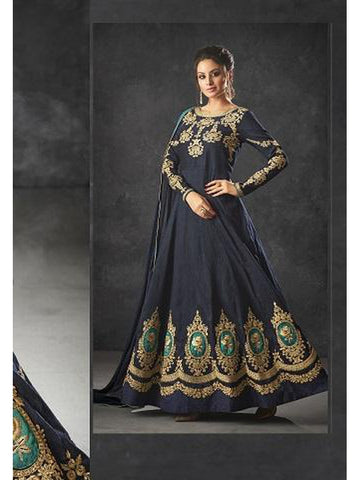 Designer Navy Blue Color Art Silk Floor Length Anarkali Suit