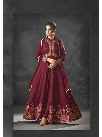 Designer Maroon Color Art Silk Floor Length Anarkali Suit