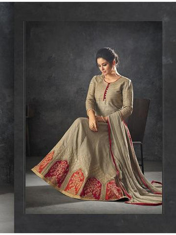 Designer Grey Color Art Silk Floor Length Anarkali Suit
