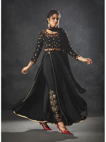 Designer Black Color Art Silk Floor Length Anarkali Suit