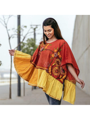 Designer Orange and Yellow Color Poncho Style Top
