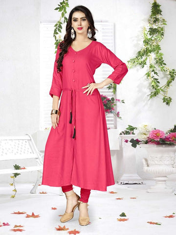 Designer Dark Pink Color Rayon Straight Cut Kurti