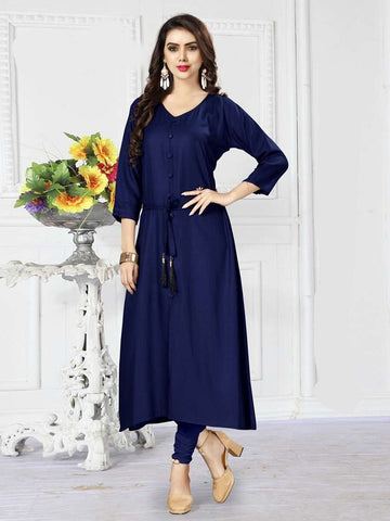 Designer Navy Blue Color Rayon Straight Cut Kurti