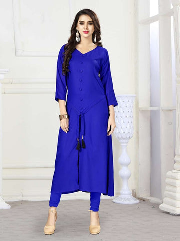 Designer Royal Blue Color Rayon Straight Cut Kurti