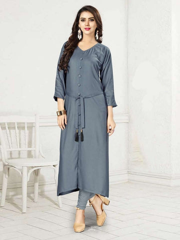 Designer Grey Color Rayon Straight Cut Kurti