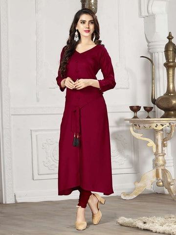 Designer Maroon Color Rayon Straight Cut Kurti