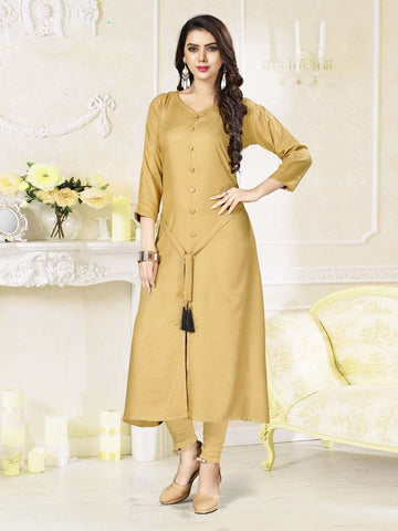 Designer Beige Color Rayon Straight Cut Kurti