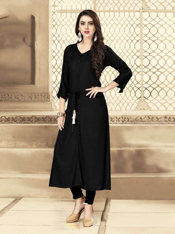 Designer Black Color Rayon Straight Cut Kurti