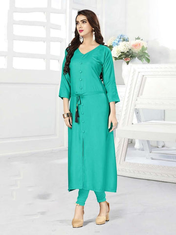 Designer Turquoise Blue Color Rayon Straight Cut Kurti