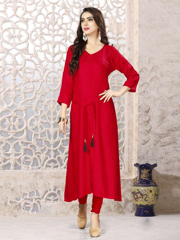 Designer Red Color Rayon Straight Cut Kurti