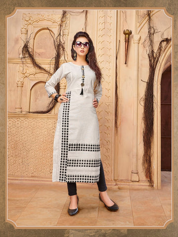 Designer Off White Color Printed Khadi Cotton Straight Cut Kurti