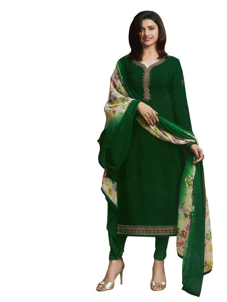 Designer Dark Green Color Crepe Embroidered Long Straight Cut Suit