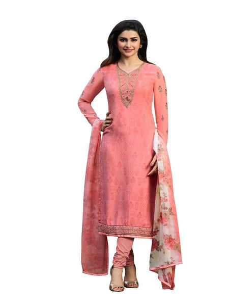 Designer Pink Color Crepe Embroidered Long Straight Cut Suit