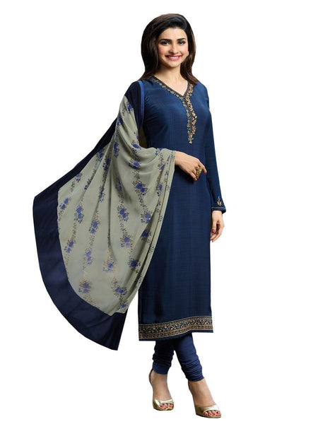 Designer Navy Blue Color Crepe Embroidered Long Straight Cut Suit