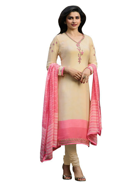 Designer Cream Color Crepe Embroidered Long Straight Cut Suit