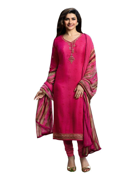Designer Dark Pink Color Crepe Embroidered Long Straight Cut Suit