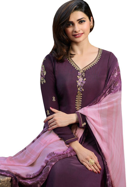 Designer Dark Purple Color Crepe Embroidered Long Straight Cut Suit
