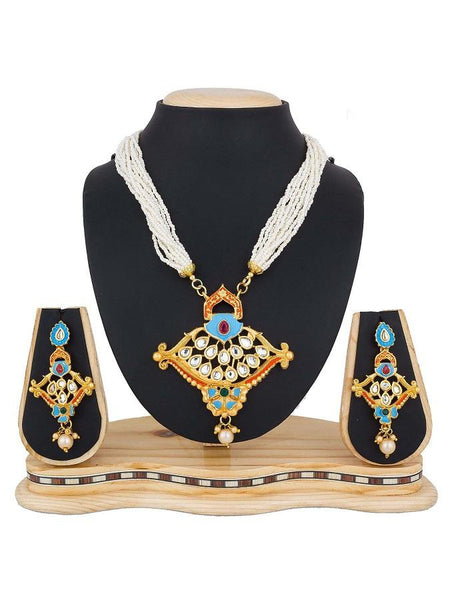 Beautiful Traditional Necklace with Pearl and Stone Work