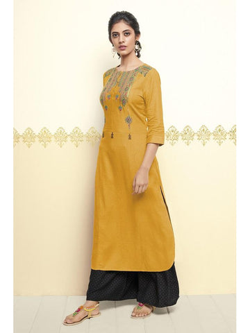 Designer Yellow Color Resham Embroidered Cotton Kurti