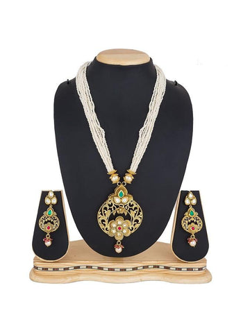 Beautiful Traditional Golden and White Color Necklace