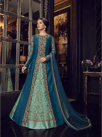 Designer Aqua Blue Color Jari & Resham Embroidered Work Indo Western Anarkali Suit