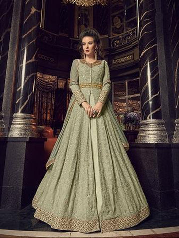 Designer Mint Green Color Jari & Resham Embroidered Work Indo Western Anarkali Suit
