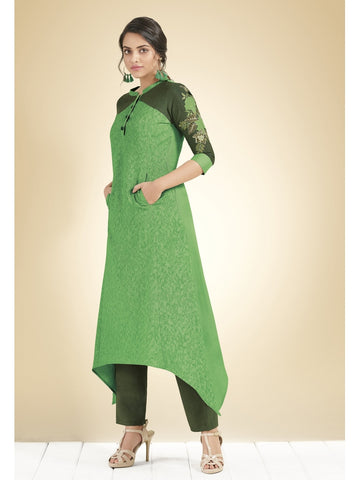 Designer Green Color Cotton Thread Work Kurti