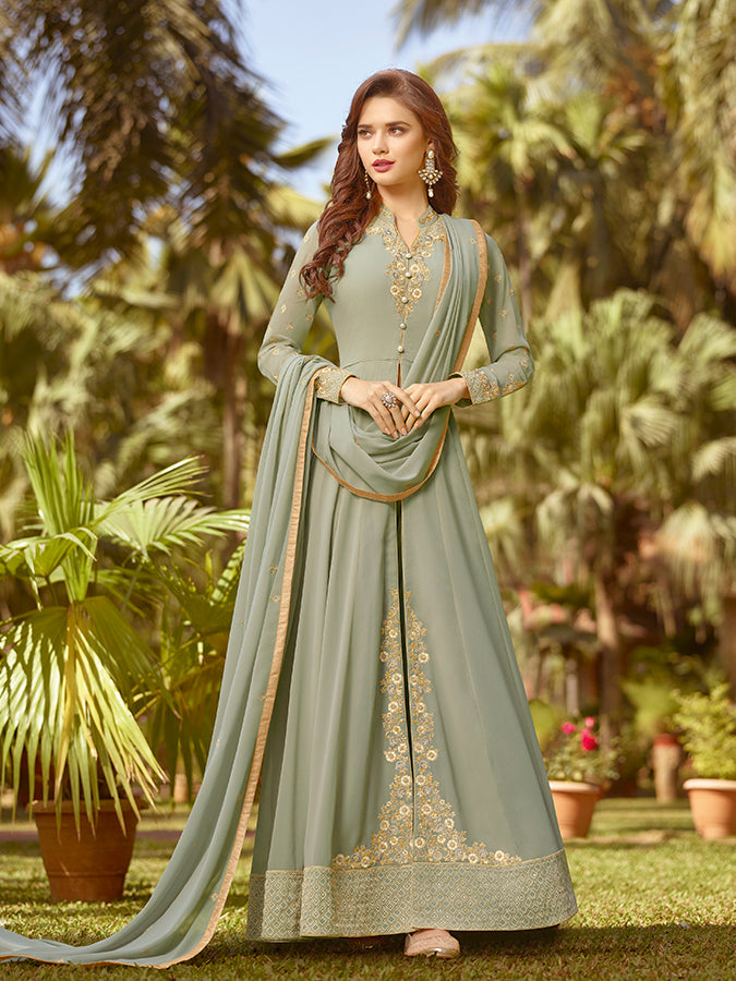 fd6a0fdfa2 Designer Party Wear Mint Green Color Georgette Anarkali Suit ...