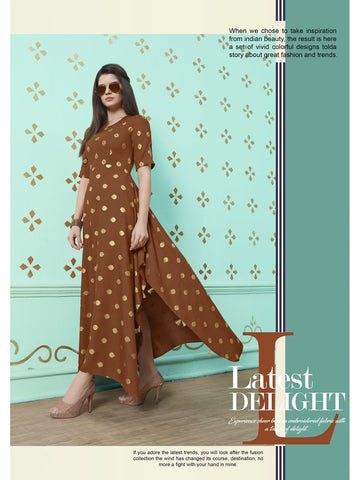 Designer Brown Color Rayon Cotton Printed Flared Kurti