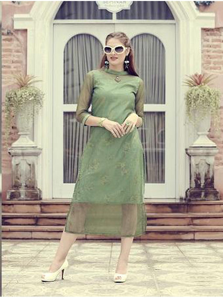 Designer Mint Green Color Orgenza & Crepe Silk Printed Kurti