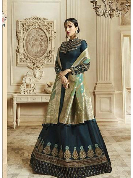 Designer Prussian Blue Color Soft Silk Anarkali Suit