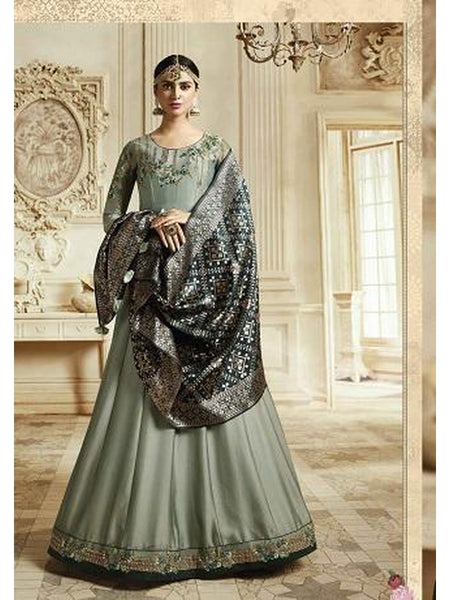 Designer Aqua Blue Color Georgette Anarkali Suit