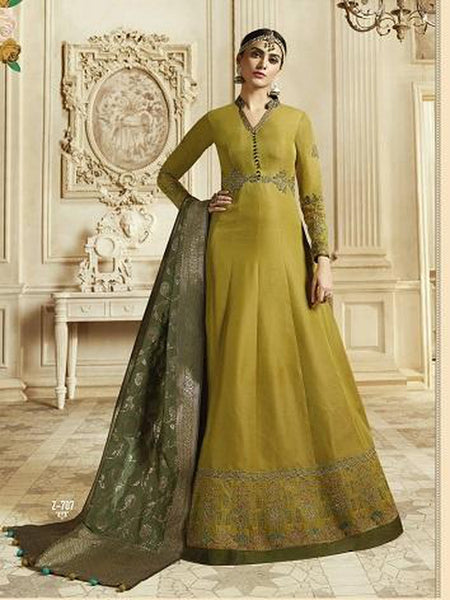 Designer Mustard Yellow Color Soft Silk Anarkali Suit