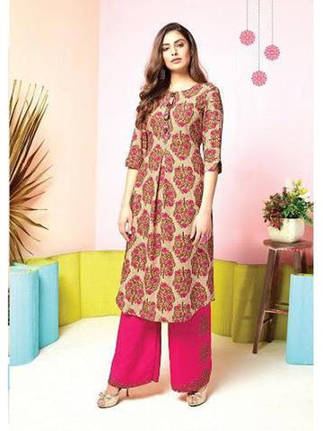Designer Beige & Pink Color Printed & Thread Work Kurti with Bottom