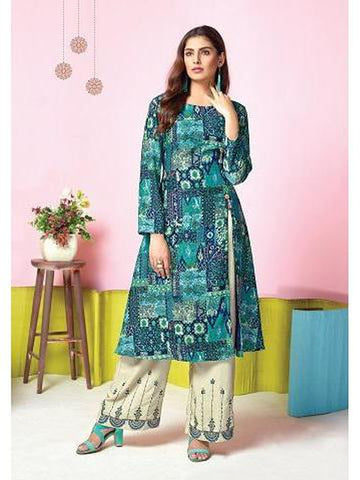 Designer Blue Color Printed & Thread Work Kurti with Palazzo